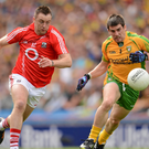 Paul Kerrigan in action against Paddy McGrath, Donegal during the 2012 All-Ireland semi-final between the sides in Croke Park. Photo by Sportsfile