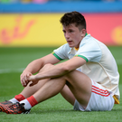 A dejected Tadhg Corkery of Cork after the Electric Ireland GAA Football All-Ireland Minor Championship Quarter-Final match between Donegal and Cork at Croke Park in Dublin. Photo: Oliver McVeigh/Sportsfile