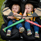 Twins Odhran (left) and Fionn Scannell, age 14 months, from Castlelyons, Co Cork, during the Etihad Airways GAA World Games 2016 at UCD in Dublin