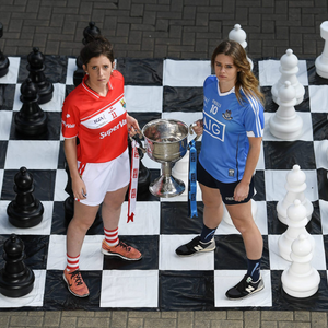 Cork captain Ciara O'Sullivan, left, and Noelle Healy of Dublin with the Brendan Martin Cup at a photocall ahead of Sunday's All-Ireland SFC Final when Cork will defend their TG4 All- Ireland senior title against Dublin at 4pm with the Rebels hoping to make it six All-Ireland titles in a row and join Kerry as the most successful county in the history of the game with 11 All-Ireland titles. Photo by Brendan Moran