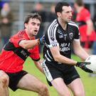 Kiskeam's Mike Herlihy seeks out a colleague against Adare in the Munster IFC semi final in Mallow. Photo by John Tarrant