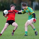 Cathal O'Mahony, Mitchelstown and Liam O'Sullivan, Kilmurry in action during the Carrigaline Court Premier 2, U18 Football League Final at Blarney. Photo by Jim Coughlan