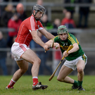 Jordan Conway of Kerry in action against Christopher Joyce of Cork during the Co-Op Superstores Munster Senior Hurling League First Round match between Cork and Kerry at Mallow GAA Grounds in Mallow. Photo Éoin Noonan / Sportsfile