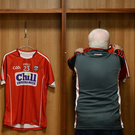 Cork kit man Pat Keane hangs the Cork jerseys in the dressing rooms ahead of the Co-Op Superstores Munster Senior Hurling League final match between Limerick and Cork at the Gaelic Grounds in Limerick. Photo by Eóin Noonan/Sportsfile