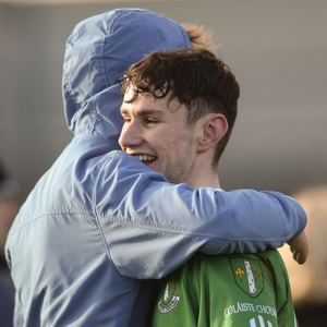 Diarmuid Lenihan of Coláiste Cholmáin Fermoy is congratulated by a supporter after the Dr. Harty Cup semi-final against CBS Midleton at Mallow. Photo by Sportsfile
