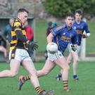 Buttevant's Kevin Lenehan makes use of the strong wind to launch the ball into his forward line during last weekend's clash with Kilshannig in the Cavanagh's of Fermoy Football League. Photo by Eric Barry