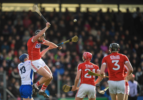 Colm Spillane of Cork in action against Patrick Curran of Waterford during the Allianz Hurling League Division 1A Round 4 match between Waterford and Cork at Walsh Park in Waterford. Photo by Stephen McCarthy/Sportsfile