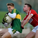 Killian Spillane, Kerry, in action against John Mullins, Cork during last year's Under 21 final. The two teams meet again next week for the 2017 decider in Pairc Uí Rinn. Photo by Diarmuid Greene / Sportsfile