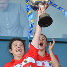 Captain of Cork Doireann O'Sullivan celebrates with her teammates at the end of the Lidl Ladies Football National League Div 1 Final match between Cork and Donegal at Parnell Park, Dublin. Photo by David Maher/Sportsfile