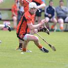 Duhallow's Kevin Tarrant wins the ball against Sarsfields in the Co. SHC in Coachford. Photo by John Tarrant