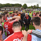 Cork manager Peadar Healy with his players after the Munster GAA Football Senior Championship Semi-Final match between Cork and Tipperary at Pairc Ui Rinn. Photo by Matt Browne / Sportsfile