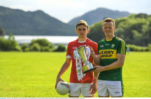 Mark Collins, left, of Cork and Johnny Buckley of Kerry during the Munster Senior Football Championship launch at Muckross House, KillarneyPhoto by Sportsfile