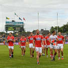 The Cork team make their way to the pre-match parade before the Munster GAA Football Senior Championship Final match between Kerry and Cork at Fitzgerald Stadium in Killarney. Photo by Brendan Moran/Sportsfile