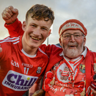 Colin O'Brien of Cork celebrates with his grandfather Joe Cole following the GAA Hurling All-Ireland U-17 Championship semi-final match between Cork and Galway at Semple Stadium in Thurles, Tipperary. Photo by Sam Barnes/Sportsfile