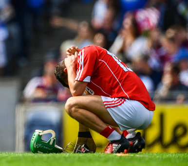 Brian Turnbull of Cork dejected after theAll-Ireland Minor Championship Final between Galway and Cork at Croke Park