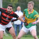 Kevin O'Sullivan (Newmarket) seeks out the ball against St. Michaels in the Co. Premier IFC semi final at Mourneabbey. Photo by John Tarrant