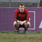 Mitchelstown goalkeeper Luke Hanna wonders what might have been after his side suffered an agonising single point defeat to Kanturk in last weekend's County Intermediate Football Championship Final. Photo by Eric Barry