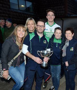 Kanturk captain Aidan Walsh thronged by well-wishers after Sunday's County Intermediate Football Championship Final. Photo by John Tarrant