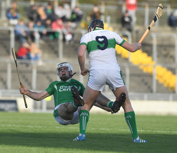 Jack Goulding Ballyduff, in action against and Ryan Walsh, Kanturk in action during the Munster club IHC semi-final in Austin Stack Park on Sunday