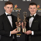Cork hurlers Mark Coleman, left, and Patrick Horgan with their awards during the PwC All Stars 2017 at the Convention Centre in Dublin