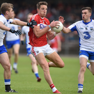 Aidan Walsh in action against Gavin Crotty, right, and Brian Looby of Waterford during last year's Munster SFC quarter-final at Fraher Field in Dungarvan. The counties meet at the same venue this Sunday in the McGrath Cup but Walsh is unlikely to feature as his club Kanturk will be playing an All-Ireland Club IHC semi-final in three weeks