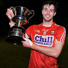 Cork captain Jamie O'Sullivan with the cup after the McGrath Cup Final between Cork and Clare