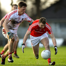 Louth's Gerald McSorley in action against Sam Ryan of Cork during the Allianz Football League Division 2 Round 3 match between Cork and Louth at Páirc Ui Rinn. Photo by Eóin Noonan/Sportsfile