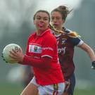 Aisling O'Sullivan of Cork in action against Maud Annie Foley of Westmeath during the Lidl Ladies Football National League Division 1 Round 4 match between Cork and Westmeath at Mallow GAA. Photo by Piaras ÓMídheach /Sportsfile