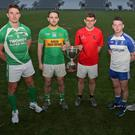 At the 2018 Cork County Premier Intermediate and Intermediate Football Championship Launch are Club representatives, Pat Prendergast, Bandon, Aidan Walsh, Kanturk, Bart Daly, Newmarket, Paul Cronin, St. Michaels, Danny O'Connell, Cill Na Martra, Fintan O'Connor, Knocknagree and Dave Dineen, Mitchelstown Photo by Jim Coughlan
