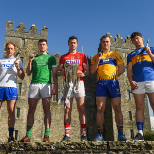 Hurlers, from left, Kevin Moran of Waterford, Declan Hannon of Limerick, Séamus Harnedy of Cork, Pat O'Connor of Clare, and Niall O'Meara of Tipperary, at the launch of the Munster Senior Hurling and Senior Football Championships 2018 at Bunratty Folk Park. Photo by Piaras ÓMídheach/ Sportsfile