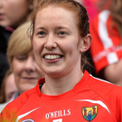Cork captain Rena Buckley with The O'Duffy Cup after the Liberty Insurance All-Ireland Senior Camogie Final match between Cork and Kilkenny at Croke Park. Photo by Sportsfile