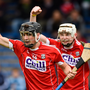 Pádraig Power of Cork celebrates with teammates after scoring his side's second goal during the Electric Ireland Munster MHC match between Waterford and Cork at Semple Stadium. Photo by Matt Browne/Sportsfile