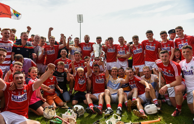 Cork players celebrate Munster final win this year