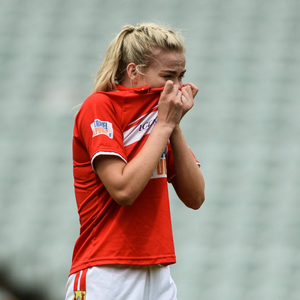 Cork captain Ciara McCarthy reacts after defeat to Galway in the All-Ireland Ladies Football Minor A final at the Gaelic Grounds. Photo by Sportsfile