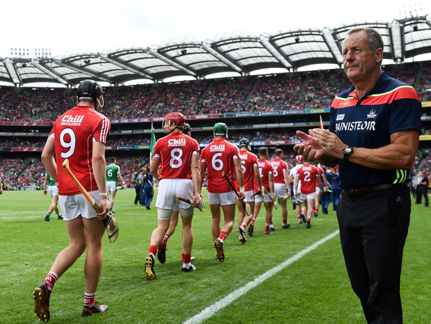 Cork manager John Meyler during the All-Ireland Senior Championship semi-final match between Cork and Limerick at Croke Park in Dublin. Photo by Stephen McCarthy/Sportsfile