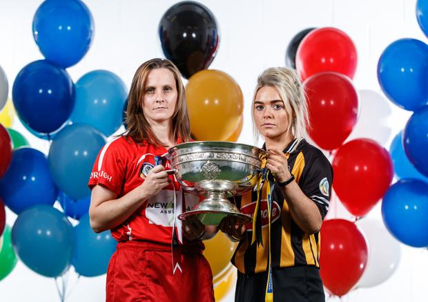 Cork camogie captain Aoife Murray with her Kilkenny counterpart Shelly Farrell pictured ahead of this weekend's All Ireland senior camogie final at Croke Park. Photo by James Crombie/Inpho