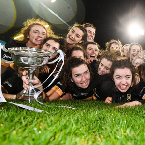 Mourneabbey players celebrate with the Dolores Tyrrell Memorial Cup following their All-Ireland Club SFC Final win over Foxrock- Cabinteely at Parnell Park in Dublin