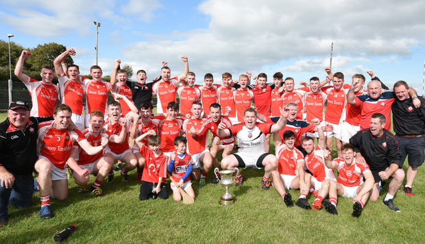 The Dromtariffe hurlers celebrate a historic first time victory for the club in the E Tarrant & Sons Duhallow JAHC Final at Freemount