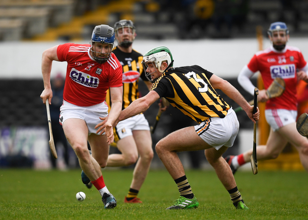 Conor Lehane of Cork in action against Paddy Deegan of Kilkenny during the Allianz Hurling League Division 1 Relegation Play-Off match between Kilkenny and Cork at Nowlan Park. Photo by Harry Murphy/Sportsfile