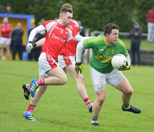 Millstreet's Michael Murphy looks for options against Dromtariffe in the County IFC at Cullen. Photo by John Tarrant