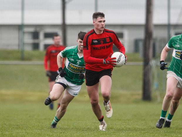 Mitchelstown's Sean Walsh looks to start an attack during last weekend's County IFC Round 1 game against Aghabullogue in Mallow. Photo by Eric Barry