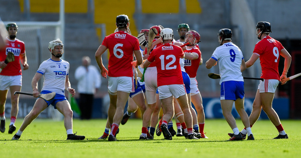 Players from both teams tussle during the Munster GAA Hurling Senior Championship Round 4 match between Cork and Waterford at Páirc Uí Chaoimh in Cork. Photo by Piaras Ó Mídheach / Sportsfile