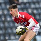 Cork's Connor Corbett looks to go past Adam Curran, Kerry, in their Electric Ireland Munster MFC Phase 2 match at Páirc Uí Rinn, Cork. Photo courtesy of The Irish Examiner