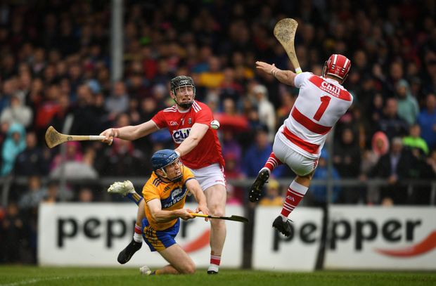 Anthony Nash of Cork saves a shot on goal by Shane O'Donnell of Clare during the Munster GAA Hurling Senior Championship Round 5 match between Clare and Cork at Cusack Park in Ennis
