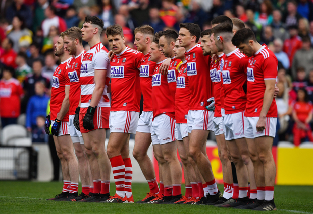 Cork players stand for the national anthem prior to the Munster SFC Final against Kerry at Páirc Ui Chaoimh. Photo by Sportsfile