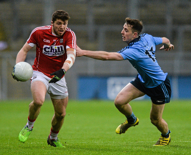 Cork's Tomás Clancy in action against Cormac Costello, Dublin, in their Allianz Football League, Division 1 meeting in Croke Park in March 2016, which was the last time the counties have played a competitive fixture. Photo by Sportsfile