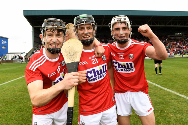 Cork players from left James Copps, Barry Murphy and Tommy O'Connell celebrate after the Bord Gáis GAA Hurling All-Ireland U20 Championship Semi-Final match between Kilkenny and Cork at O'Moore Park in Portlaoise, Laois