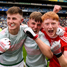 Cork players, including Jack Cahalane, second from right, and Luke Murphy of Cork far right, celebrate following the Electric Ireland GAA Football All-Ireland Minor Championship Semi-Final match between Cork and Mayo at Croke Park. Photo by Sam Barnes/Sportsfile