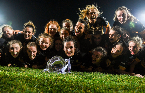 Mourneabbey players celebrate with the Dolores Tyrrell Memorial Cup following the All-Ireland Ladies Senior Club Championship Final match between Kilkerrin-Clonberne and Mourneabbey at LIT Gaelic Grounds in Limerick. Photo by Eóin Noonan/Sportsfile