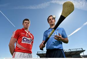 Cork's Conor Lehane, left, and Dublin's Ryan O'Dwyer at an Allianz Hurling League Media Day at Nowlan Park, Kilkenny